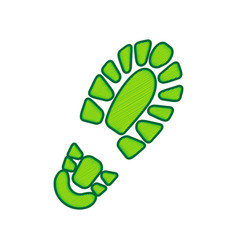 Footprint boot sign lemon scribble icon vector