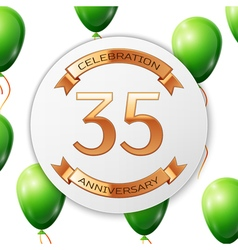 Golden number thirty five years anniversary vector image