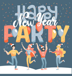 greeting card winter holidays party merry vector image
