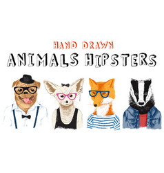 Hand drawn animals hipsters set vector