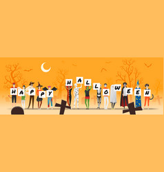 happy halloween with teens in halloween costume vector image