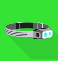 Headband flashlight icon flat style vector