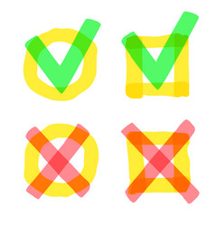 highlight marker check marks check and cross vector image