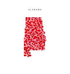 I love alabama red hearts pattern map alabama vector