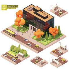 isometric office building and bus stop vector image