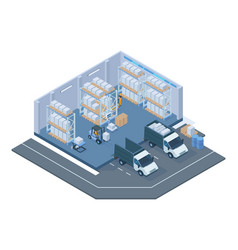 isometric storage building modern warehouse vector image