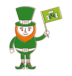 Leprechaun character holding flag with clover vector