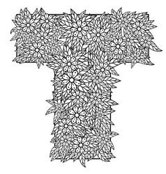 letter t dudling drawing mandala vector image