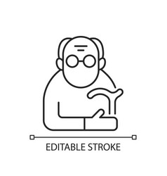 Male pensioner linear icon vector