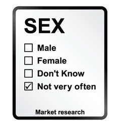 Market Research Sex Sign vector image