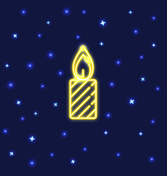 Neon christmas candle icon in line style vector