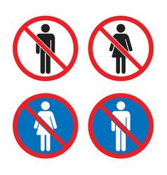 No men and no women signs no entry icons vector