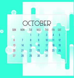 october 2019 calendar leaf vector image