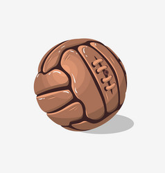 Old fashioned soccer football leather ball on a vector