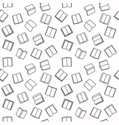 open book seamless outline pattern vector image