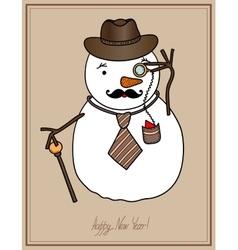 original hipster snowman in a hat tie mustache vector image