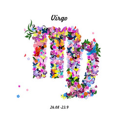 Pattern with butterflies cute zodiac sign - virgo vector image