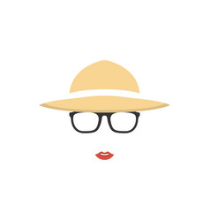 portrait girl farmer in hat and glasses farmer vector image