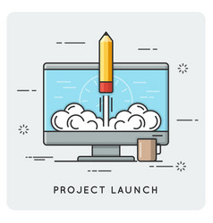 Project launch and start up thin line concept vector