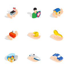 property insurance icons isometric 3d style vector image