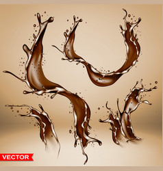 realistic chocolate splash bursts and wave vector image