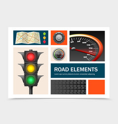 realistic road elements set vector image