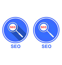 Round flat magnifying glass and seo icon search vector