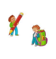 Schoolboys with extralarge school supplies vector