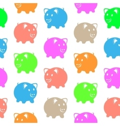 Seamless pattern with colorful pigs vector image