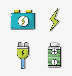 Set electric car battery and energy recharge vector