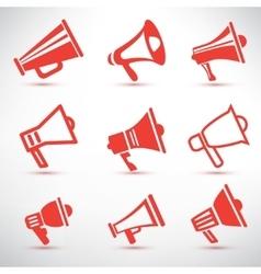 set megaphone loudspeaker isolated symbolsl and vector image