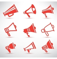 set of megaphone loudspeaker isolated symbolsl and vector image