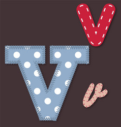 Set of stitched font - Letter V vector image