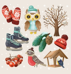 set winter items and elements vector image