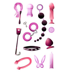 Sextoys set for bdsm and incising pleasure vector