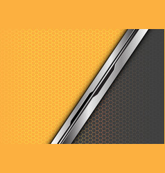 silver black line overlap yellow grey hexagon vector image