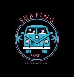 surfing logo design original creative badge can vector image