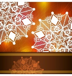 Template frame for card with lace snowflake vector image