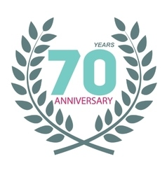Template Logo 70 Anniversary in Laurel Wreath vector image