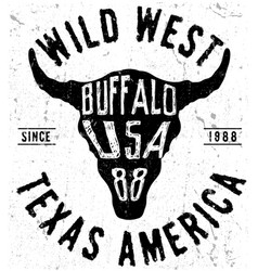 texas buffalo tee print graphic vector image