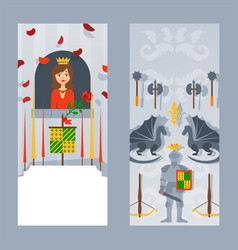 the knight in full armor and lovely princess in vector image