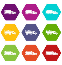 truck oil icons set 9 vector image