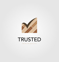 Trusted wood parquet floor vinyl logo checklist vector