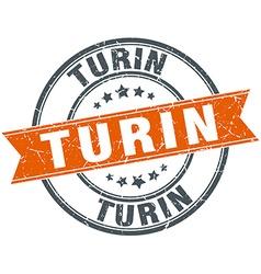 Turin red round grunge vintage ribbon stamp vector