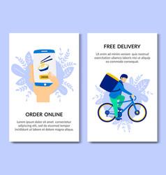 vertical flat bannerr order online free delivery vector image