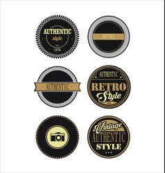 Vintage labels black and brown set 3 vector