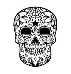 vintage mexican sugar skull isolated on white vector image