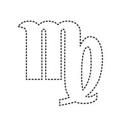 virgo sign black dashed icon vector image