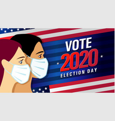 vote 2020 in usa banner with people vector image