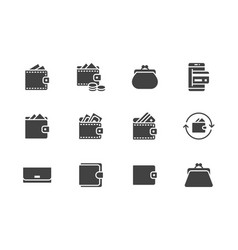 wallet flat glyph icons set purse with money vector image